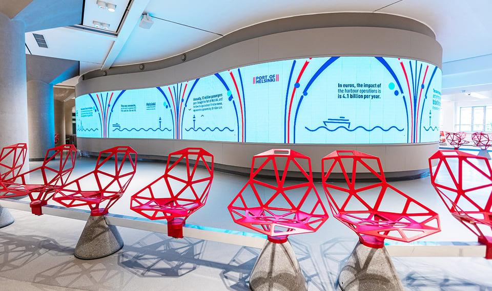 Katajanokan terminaaliin uusi, uniikki ja vaikuttava LED-mainospinta